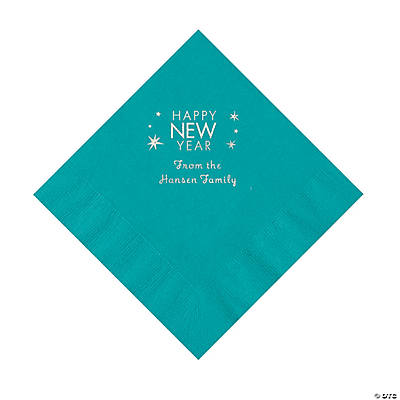 Turquoise Happy New Year Personalized Napkins with Silver Foil – Luncheon Image Thumbnail