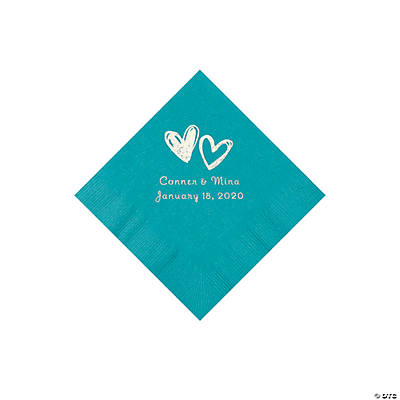 Turquoise Hearts Personalized Napkins with Silver Foil - Beverage Image Thumbnail