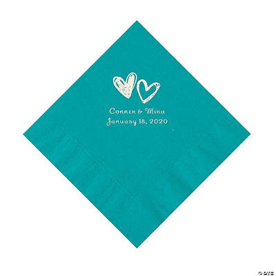 Turquoise Hearts Personalized Napkins with Silver Foil - Luncheon Image Thumbnail
