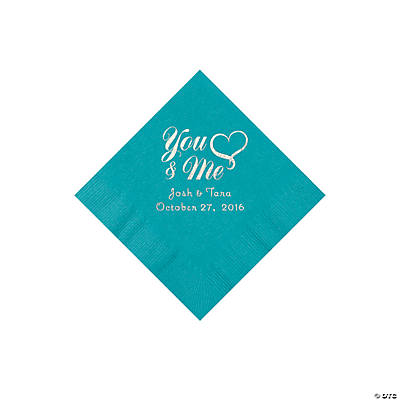 Turquoise Me & You Heart Personalized Beverage Napkins Image Thumbnail