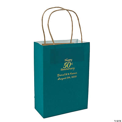 Turquoise Medium 50th Anniversary Personalized Kraft Paper Gift Bags with Gold Foil Image Thumbnail