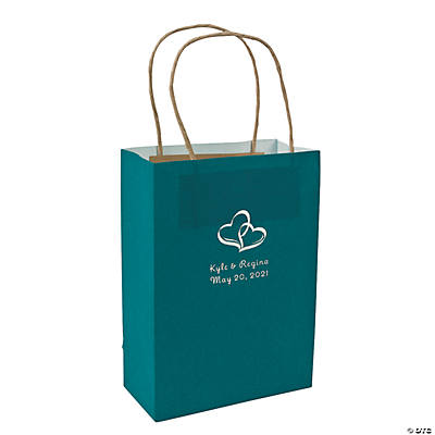 Turquoise Medium Two Hearts Personalized Kraft Paper Gift Bags with Silver Foil Image Thumbnail