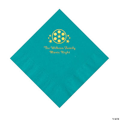 Turquoise Movie Night Personalized Napkins with Gold Foil – Luncheon Image Thumbnail