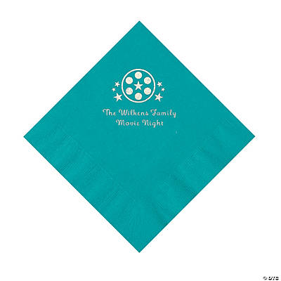 Turquoise Movie Night Personalized Napkins with Silver Foil – Luncheon Image Thumbnail