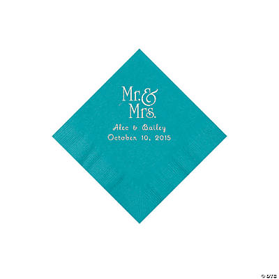 Turquoise Mr. & Mrs. Personalized Napkins with Silver Foil - Beverage Image Thumbnail