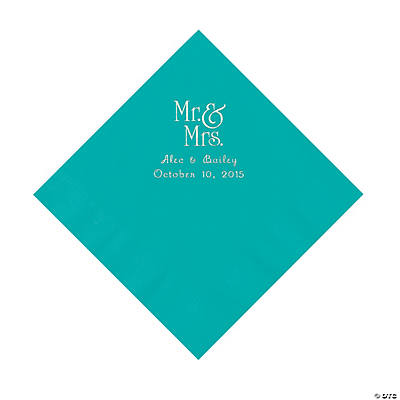 Turquoise Mr. & Mrs. Personalized Napkins with Silver Foil - Luncheon Image Thumbnail