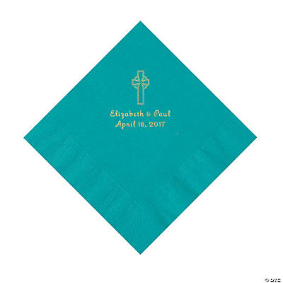 Turquoise Religious Wedding Personalized Luncheon Napkins with Gold Foil