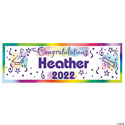 Watercolor Congratulations Graduation Custom Banner - Small Image Thumbnail
