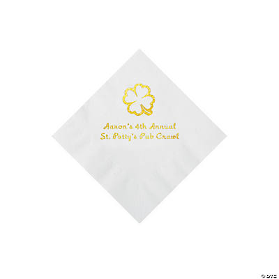 White 4-Leaf Clover Personalized Napkins with Gold Foil - Beverage Image Thumbnail