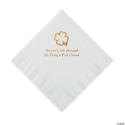 White 4-Leaf Clover Personalized Napkins with Gold Foil - Luncheon Image Thumbnail
