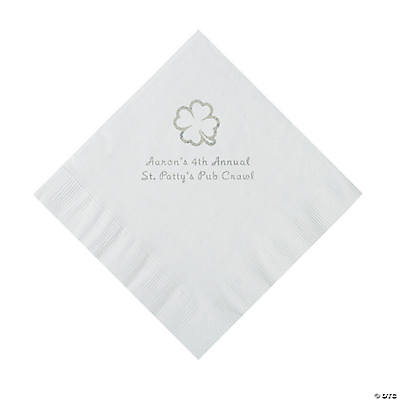 White 4-Leaf Clover Personalized Napkins with Silver Foil - Luncheon Image Thumbnail