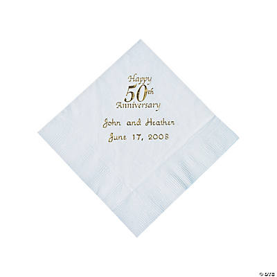 White 50th Anniversary Personalized Napkins with Gold Foil - Beverage