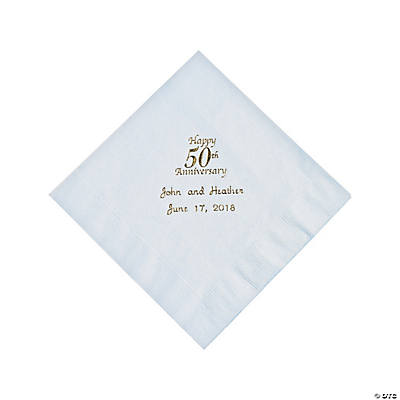 White 50th Anniversary Personalized Napkins with Gold Foil - Luncheon