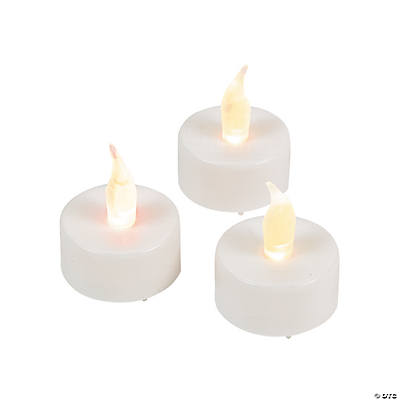 White Iridescent Glitter Battery Operated Led Tea Light Candles