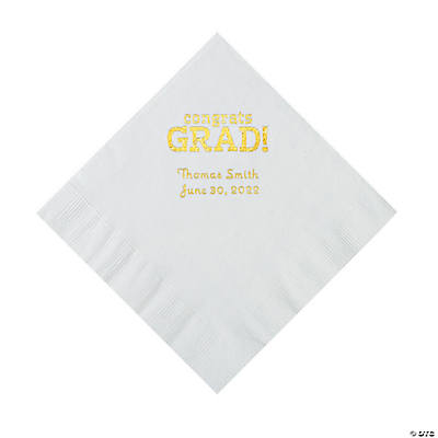 White Congrats Grad Personalized Napkins with Gold Foil - Luncheon