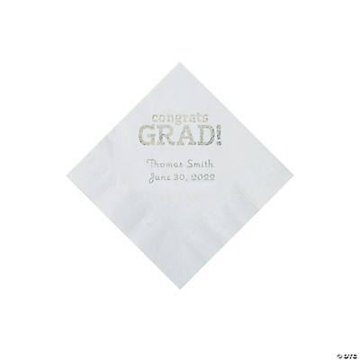 White Congrats Grad Personalized Napkins with Silver Foil - Beverage Image Thumbnail