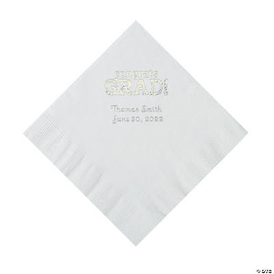 White Congrats Grad Personalized Napkins with Silver Foil - Luncheon Image Thumbnail