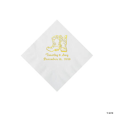 White Cowboy Boots Personalized Napkins with Gold Foil - Beverage Image Thumbnail