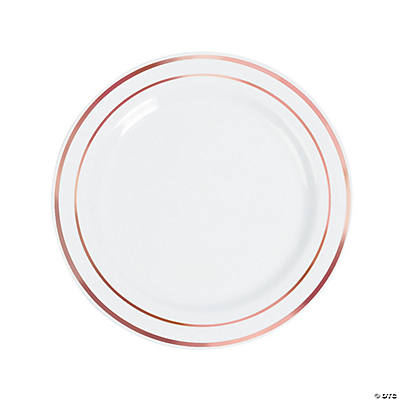 sc 1 st  Fun Express & White Dinner Plates with Rose Gold Edging