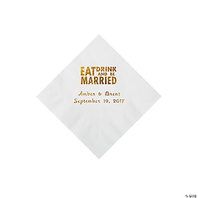 White Eat Drink & Be Married Personalized Napkins with Gold Foil - Beverage Image Thumbnail
