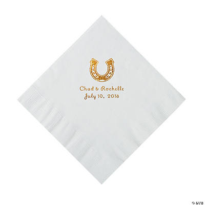 White Horseshoe Personalized Napkins with Gold Foil - Luncheon Image Thumbnail