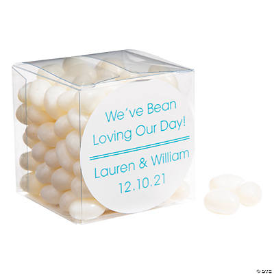 White Jelly Bean Favors with Personalized Sticker Image Thumbnail