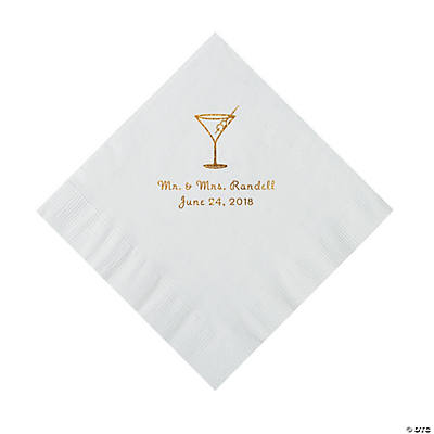White Martini Glass Personalized Napkins with Gold Foil - Luncheon Image Thumbnail