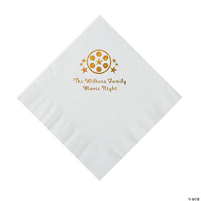 White Movie Night Personalized Napkins with Gold Foil – Luncheon Image Thumbnail
