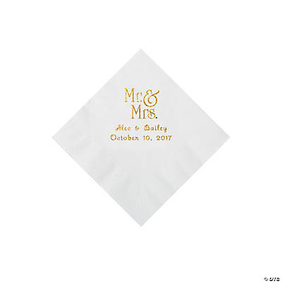 White Mr. & Mrs. Personalized Napkins with Gold Foil - Beverage Image Thumbnail
