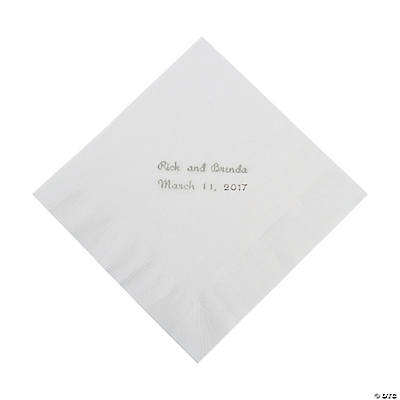 White Personalized Napkins with Silver Foil - Luncheon Image Thumbnail
