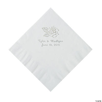 White Rose Personalized  Luncheon Napkins Image Thumbnail