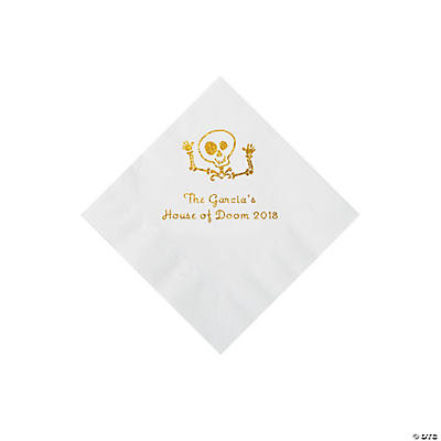 White Skeleton Personalized Napkins with Gold Foil - Beverage Image Thumbnail