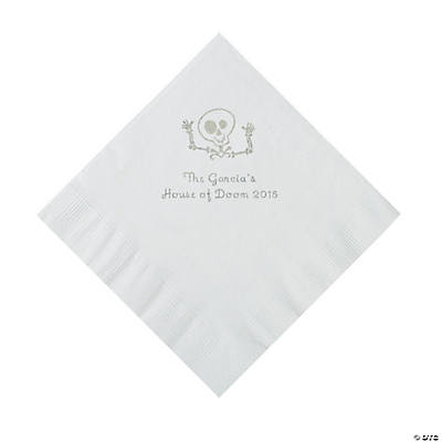 White Skeleton Personalized Napkins with Silver Foil - Luncheon Image Thumbnail