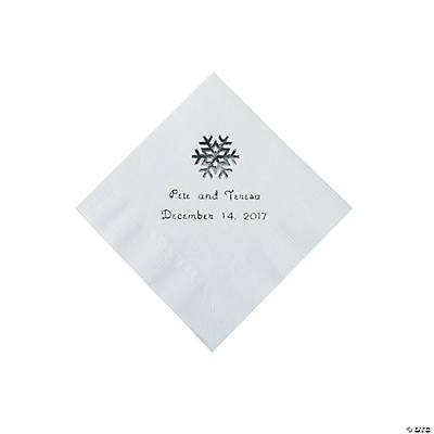White Snowflake Personalized Napkins with Silver Foil - Beverage Image Thumbnail