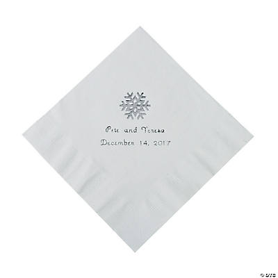 White Snowflake Personalized Napkins with Silver Foil - Luncheon Image Thumbnail