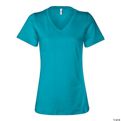 Women's Relaxed Short Sleeve Jersey V-Neck Tee by Bella + Canvas