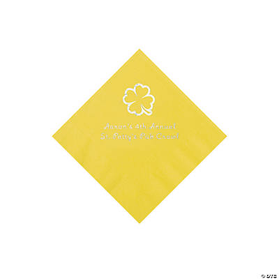 Yellow 4-Leaf Clover Personalized Napkins with Silver Foil - Beverage Image Thumbnail