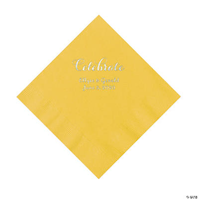 Yellow Celebrate Personalized Napkins with Silver Foil - Luncheon Image Thumbnail
