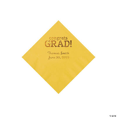 Yellow Congrats Grad Personalized Napkins with Gold Foil - Beverage Image Thumbnail