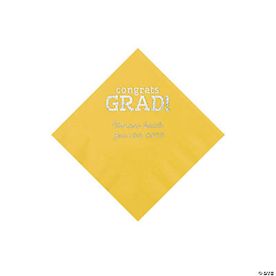 Yellow Congrats Grad Personalized Napkins with Silver Foil - Beverage