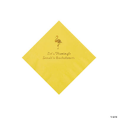 Yellow Flamingo Personalized Napkins with Gold Foil - Beverage