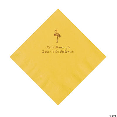 Yellow Flamingo Personalized Napkins with Gold Foil - Luncheon Image Thumbnail