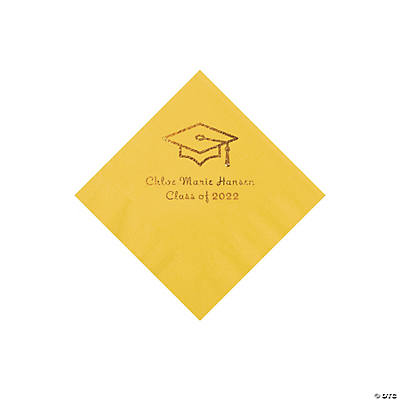 Yellow Grad Mortarboard Personalized Napkins with Gold Foil – Beverage Image Thumbnail