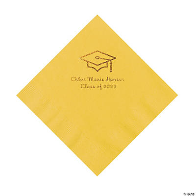 Yellow Grad Mortarboard Personalized Napkins with Gold Foil – Luncheon Image Thumbnail
