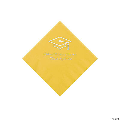 Yellow Grad Mortarboard Personalized Napkins with Silver Foil – Beverage Image Thumbnail