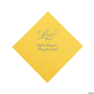Yellow Love Personalized Napkins with Silver Foil - Luncheon