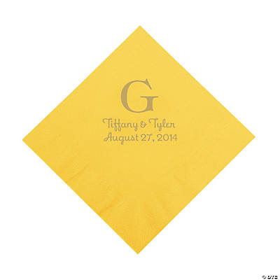 Yellow Monogram Personalized Luncheon Napkins with Gold Print Image Thumbnail
