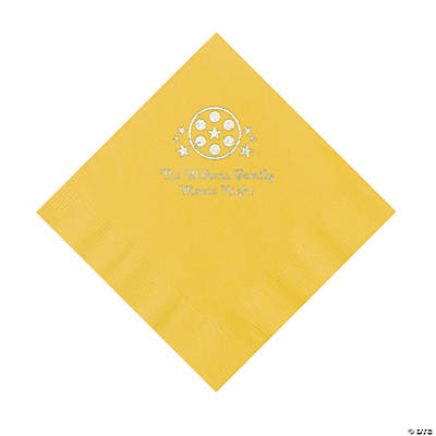 Yellow Movie Night Personalized Napkins with Silver Foil – Luncheon Image Thumbnail