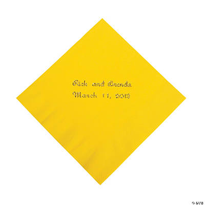 Yellow Personalized Beverage Napkins with Gold Foil Image Thumbnail