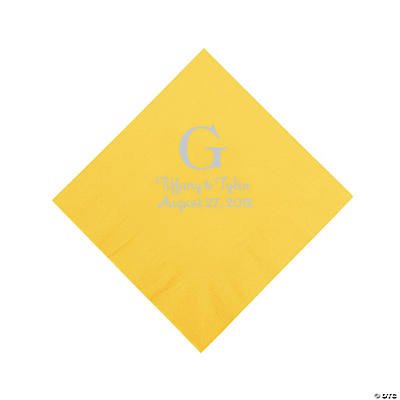 Yellow Personalized Monogram Napkins with Silver Foil - Beverage